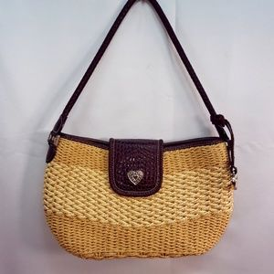 Brighton Woven Straw Raffia Heart Tassel Bag